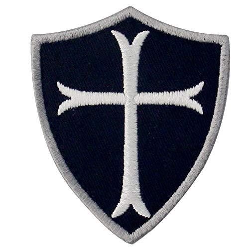 EmbTao Tempelritter Cross Shield Militärische Moral Bestickter Aufnäher mit Klettverschluss, Weiß schwarz (Militärische Frau Kostüm)