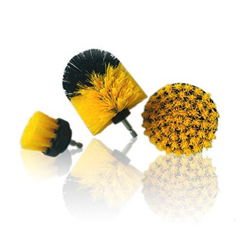 AZX - Set di 3 punte per trapano/spazzolino elettrico, per la pulizia della macchina da bagno Gelb