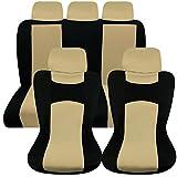 Universal Auto Autositzabdeckung Autositzbezuege KFZ PKW Sitzbezuege Schonbezuege Bezug Sitzschoner Sitzschutz Schutz Komplettset Beige