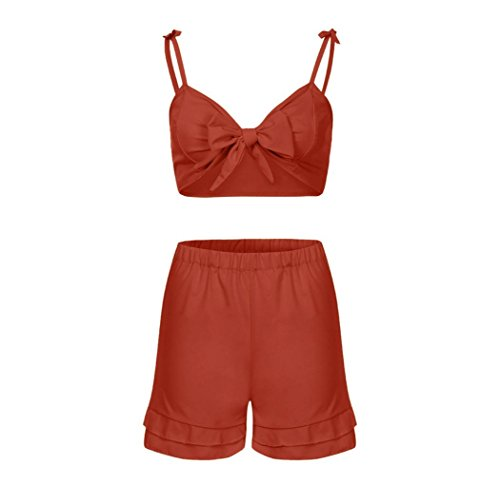 UFACE Frauen Einfarbig lässig zweiteilig Frauen Sommer Solid Sleeveless Shirt Shorts Hosen Bluse Tops 2 STÜCKE Set (L, Rot) - Af-frauen-shirt