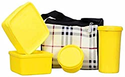 Topware Plastic 4 Yellow Container Lunch Box with Bag (1000 ml)