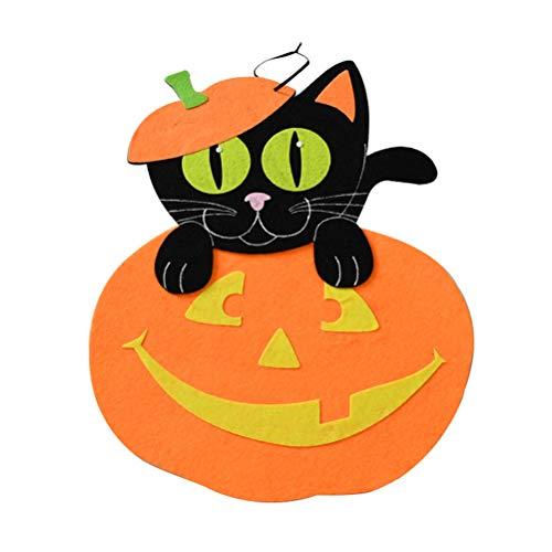 Amosfun Halloween-Party-Filz-Dekoration, Kürbis-Katzenaufkleber für Kinder-Party, Orange