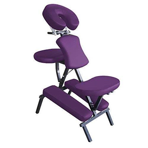 HARIMA Tragbarer Stählern Massage Stuhl für Indische Kopfmassage | Leicht und Bequem | Kopf Schulter Nacken Rückenschmerzen Stressabbau | Entspannungskissen gepolsterter Sitz, mit Tragetasche - Lila