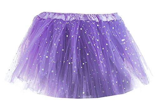 Mädchen Kinder Tüllrock Tanzkleid Ballettkleid Ballettrock mit Glitzer Sternchen Tütü Tutu Petticoat in verschiedenen Farben (Lila) (Glitzer Tutu)