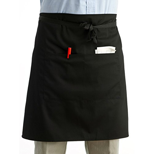 LEORX Vita grembiule cucina cucina grembiule corto cameriere grembiule con tasche doppi (nero)