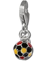 Plata de ley 925 SilberDream Charm Fútbol colgante para pulsera cadena  pendientes FC706 8875568435f2b