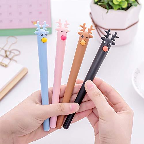 Gaddrt Weihnachtsverzierung Kugelschreiber Pen Niedliche Kawaii Cartoon Elch Gel Ink Pen Kugelschreiber 0.5mm Schwarze Tinte Student Pens 15.5cm (Braun)