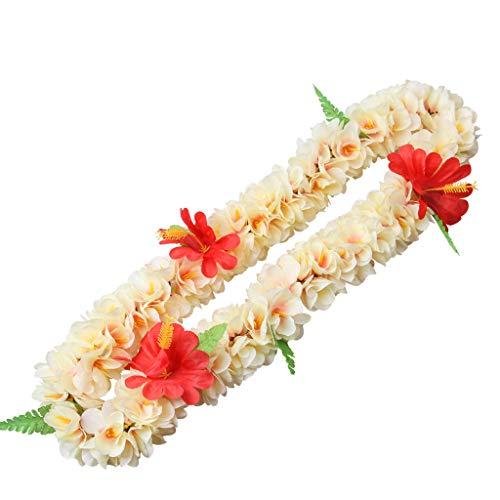 wachsene Hawaiian Blume Leis Halskette Set Tropische künstliche Hibiskus Blumenkranz Stirnband Armband Luau Party Decor ()