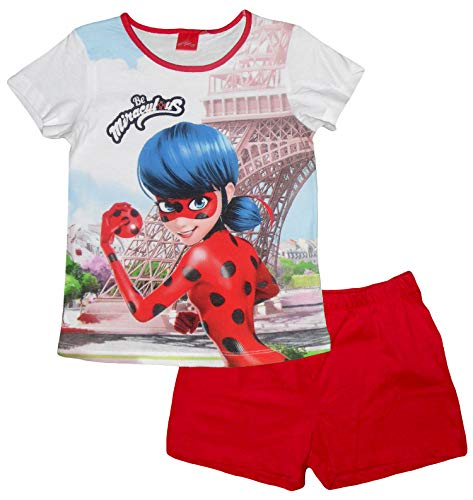 Mädchen Weihnachts-nachthemd (Miraculous Tales of Ladybug and Cat Noir Mädchen Short Pyjama Set (Rot, 5 Jahre))