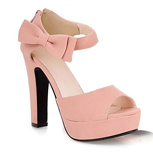Minetom Donne Ragazze Elegante Sandali Tacco Alto Sandali Con Bowknot Peep Toe Scarpe Rosa 37