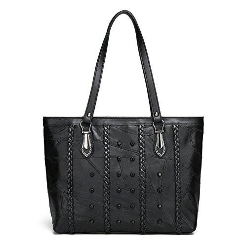 DCRYWRX Lässige Handtasche Leder Umhängetasche Hobo Großraum-Urban Style Handtasche Damen Geldbörse Schwarz,B (Geflochtene Griff Hobo)