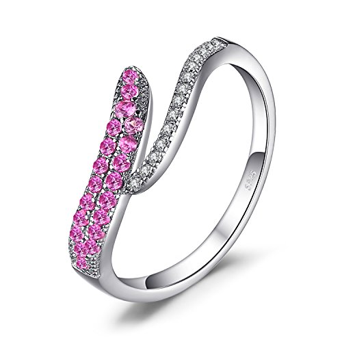 JewelryPalace Ausgeprägter 0.9ct Synthetische rosa Saphir Ring 925 Sterling Silber (Edelstein Ring Rosa)