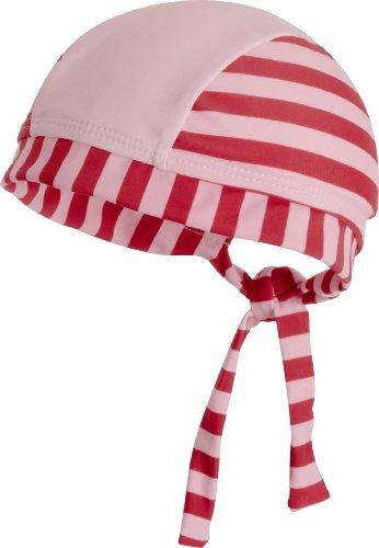 Playshoes Baby - Mädchen Mützchen 460048 Bade-Kopftuch / Bademütze Steifen in rot-rosa mit UV-Schutz nach Standard 801 und Oeko-Tex Standard 100, Gr. 57, Rosa (rot/rosa)