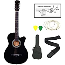 Zabel Elletra Series Acoustic Guitar With Truss Rod, Black, Combo With Bag, Strap, One Pack Strings And Picks