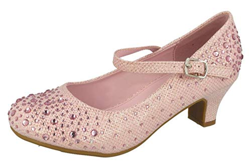 1 Heel Uk Low Girls Glitter Party Lora Dora Mary Shoes Pink