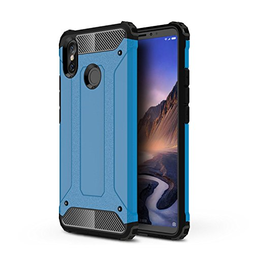 TANYO Compatible con Xiaomi Mi MAX 3 Heavy-Duty Anti-Caída Phone Case, Extraíble 2 en 1 a Prueba de Golpes Robusto y Durable Fashion Ultra-Thin Funda Protectora Azul.