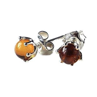 Boucles d'oreille en Argent Sterling 925 Minuscules Chamelion Cognac Ambre Baltique