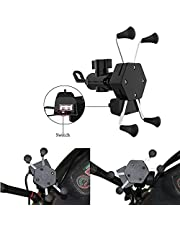 Allxpert AL-12 X-Grip Bike Mobile Charger & Phone Holder Version 2 for All Bikes Scooters (5V-2A Black)
