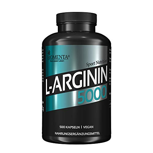 BIOMENTA L-ARGININ 5000 | AKTION!!! | 500 normal große L Arginin Kapseln | HOCHDOSIERT & VEGAN | Für Frauen & Männer | SUPER Preis-Leistungsverhältnis