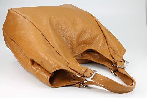 Belli sac à shopping shopper ® xXL étui en cuir couleur au choix :  46 x 34 (au milieu) x 14 cm (l x h x p) Marron - Cognac