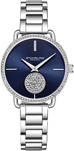 amenuhr Krystal Diamond Analog Zifferblatt und Lünette, Edelstahlarmband 3909 Uhren für Damen Kollektion (Silver) ()
