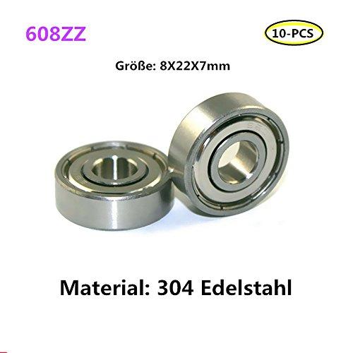 608ZZ lager 304 Edelstahl Rillenlager Miniaturlagern ball bearing 10-PCS (608zz)