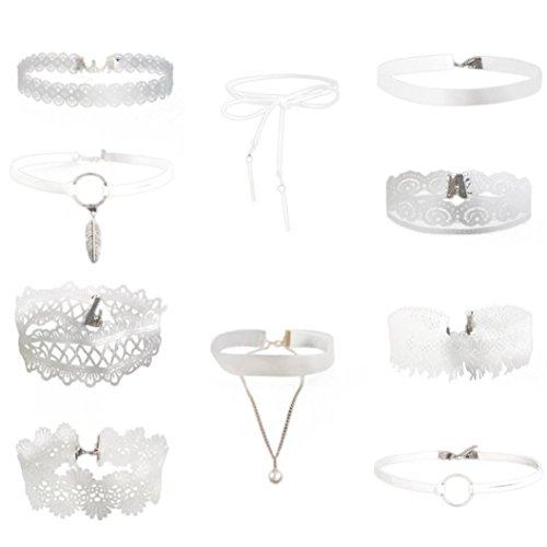 (Halskette,Binggong 10 Stück Choker Halskette Set Stretch Samt Klassische Gothic Tattoo Spitze Choker Jewellry Geschenke Damen Halskette Elegant Schmuck Armbänder (1X, Weiß))