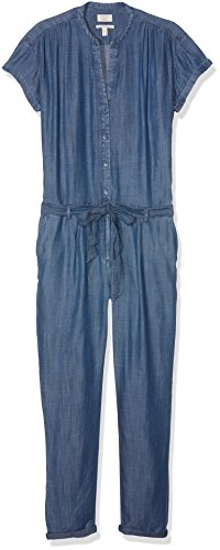 ESPRIT Damen Latz Jumpsuits 047EE1L001, Gr. 40/L30, Blau (Blue Medium Wash 902)