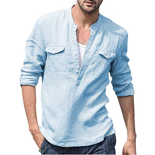 689f8551a6 Mens Shirt Henley Solid Color Baggy Long Sleeve Cotton Linen Button Down  Shirts Tees Casual Beach Party Pullover Tops with Pockets (S, Blue)