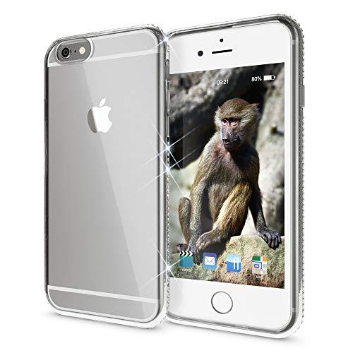 NALIA Handyhülle kompatibel mit iPhone 6 6S, Durchsichtiges Slim Silikon Case Hülle Transparente Rückseite & Farbiger Strass Bumper, Crystal Schutzhülle Back-Cover Skin Etui Dünn, Farbe:Silber Strass Back Cover