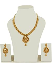 Muchmore 18K Gold Plated Charm Look Polki Necklace Set For Women