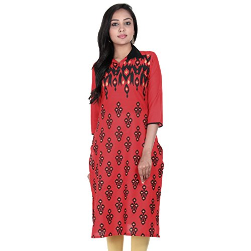 eSTYLe Lollipop Red Shirt Collar Neck With Ethnic Style Print Design Cotton...