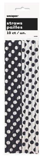 Preisvergleich Produktbild Paper Straws 10/Pkg-Midnight Black Decorative Dots