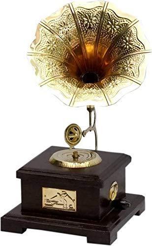 FORESTWOOD Decorative Wooden Brass Work Gramophone Model | Home Decorative Item | Antique & Unique Designed(Big)