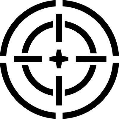 Logo militare con mirino adesivo prespaziato senza fondo in vinile colore nero lucido, 10 centimetri. personalizza auto, moto, caschi, camion, furgoni, fuoristrada e 4x4, car wrapping e tuning, barche, valige, vetri, mobili e qualsiasi altra superficie liscia.