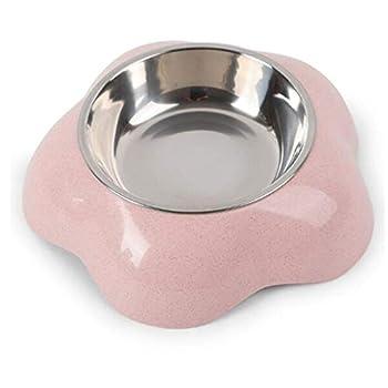 LRWEY Gamelle pour Chat et Chien Distributeur de Nourriture pour Chat en Plastique Chiot Nourriture Eau Potable Bol Couleur Bonbon Rose 16 * 4.5 * 16cm