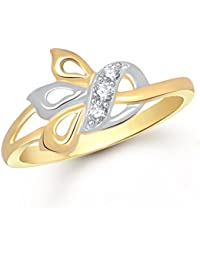 VK Jewels Fashion Finesse Gold And Rhodium Plated Alloy Ring For Women & Girls Made With Cubic Zirconia - FR1591G...