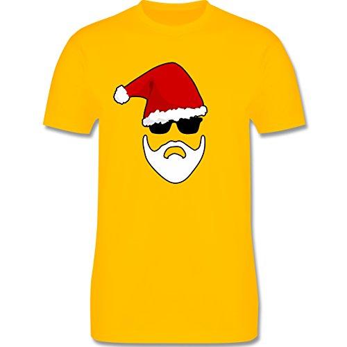 Weihnachten - Santa - Bart - Brille - L190 Herren Premium Rundhals T-Shirt Gelb