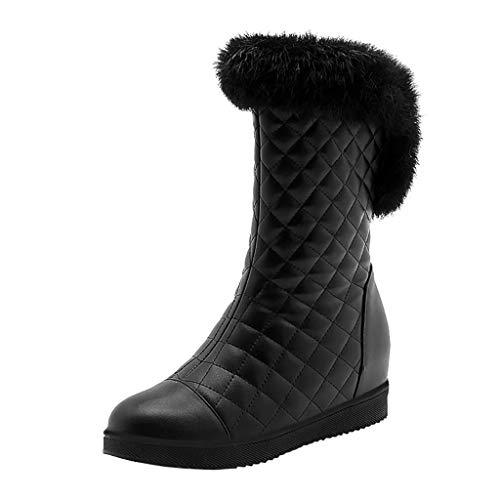 COZOCO Damen Flache Sohle Plüsch Mittlere Stiefel Einfarbig Gesteppte Winterstiefel rutschfeste Warme Schneestiefel(B-Schwarz,36 EU
