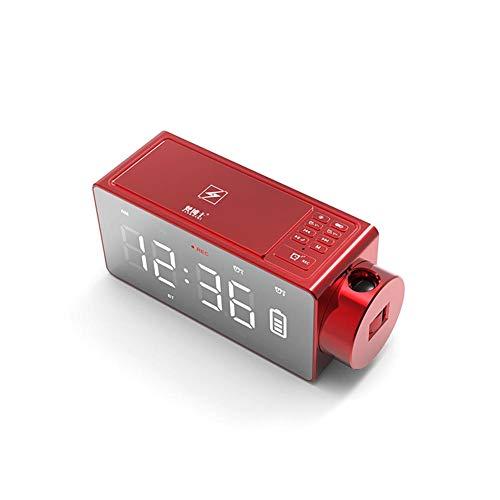 Yunt Réveil numérique, réveil à Projection LED avec Haut-Parleur Bluetooth, Double Alarme, Radio FM, Ports de Charge USB, Snooze