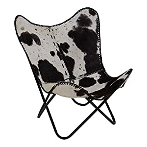 Lesli Living Schmetterlingsstuhl Faltstuhl Butterfly Chair Kuhfell Optik 75x75x87 cm
