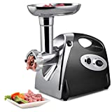 Chhel 800W Electric Meat Grinder and Duty Household Sausage Maker Meats Mincer Food Grinding Mincing Machine Powerful Copper Motor(Black)