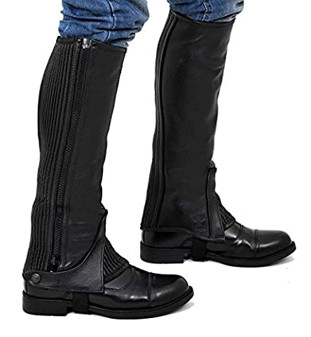 Riders Trend 10025195 (L, Calf (15 - 17) x Height-15 Inch) - Full Grain Leather Half Chaps - Black