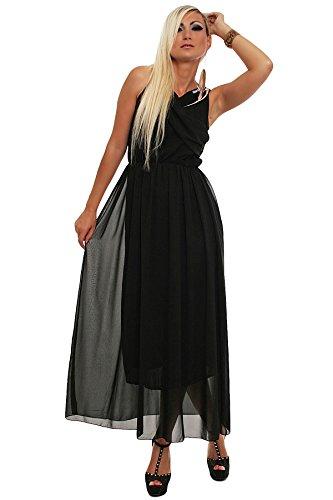10086 Fashion4Young Damen Maxikleid aus feinem Chiffon-Soff Kleid Gr. 36/38 verfügbar in 6 Farben Schwarz