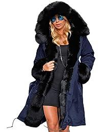 Tomasa Donna Parka Invernale Lungo di Pelliccia Sintetica con Cappuccio  Cappotto Giacca Caldo - S- a16fd63484f5