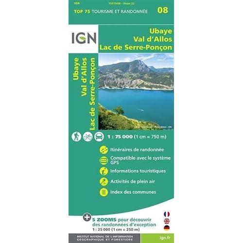 TOP75008 UBAYE/VAL D'ALLOS/LAC DE SERRE-PONCON 1/75.000