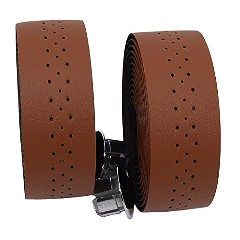 KINGOU Light Brown Handlebar Tape Luxury PU Leather Bar Tape