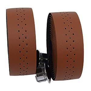 KINGOU Light Brown Handlebar Tape Luxury PU Leather Bar Tape Fixed Gear / Road Bike Bar Wrap with 2 Reflective Plug