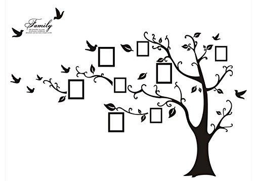 WallStickersDecal PVC Riesig Schwarz Bilderrahmen Speicher Baum Vine Zweig Abnehmbare Wandtattoo Sticker