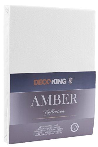 DecoKing 18101 80x200-90x200 cm Spannbettlaken weiß 100% Baumwolle Jersey Boxspringbett Spannbetttuch Bettlaken Betttuch White Amber Collection - 2